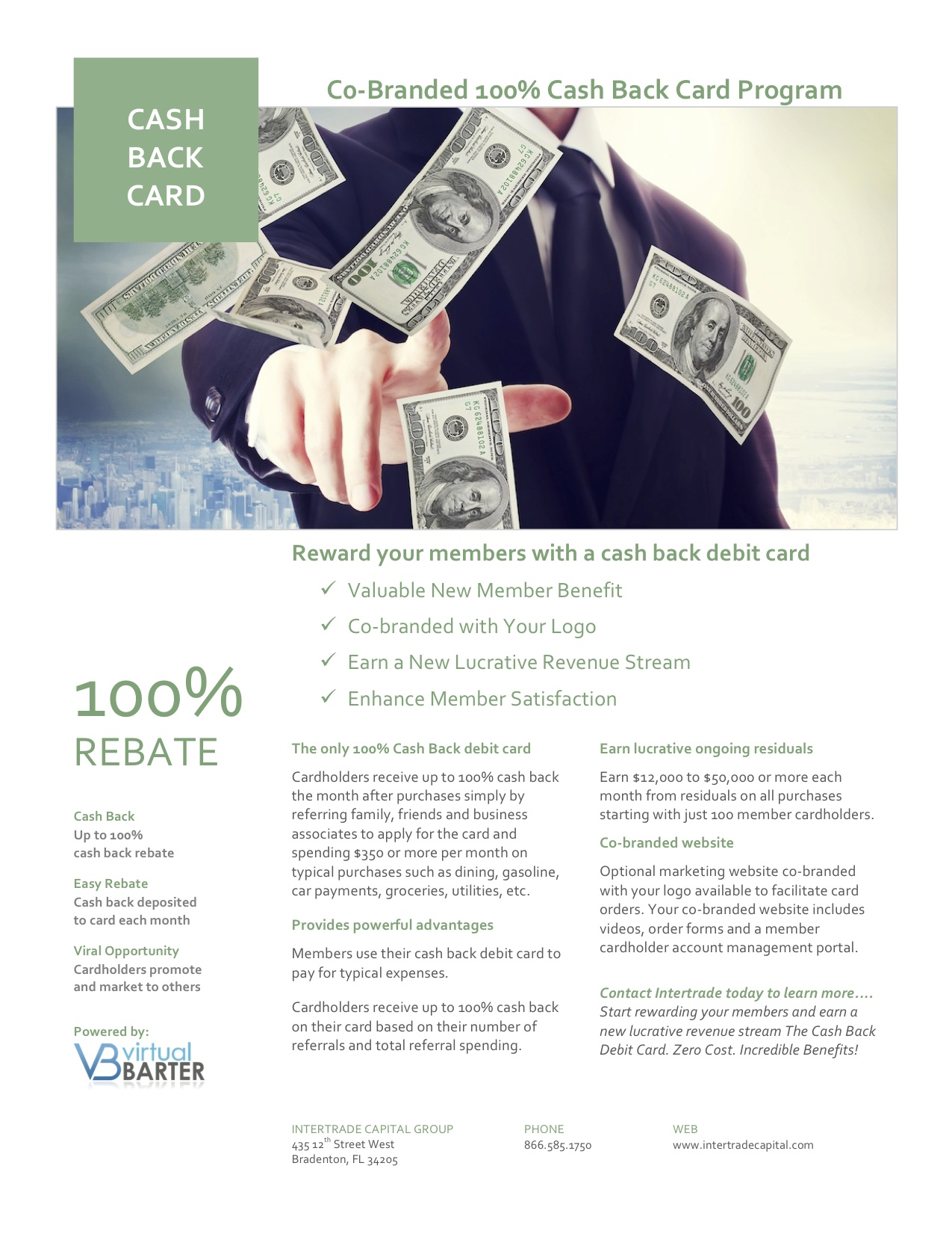 Cash Back Debit Card Flyer - Green